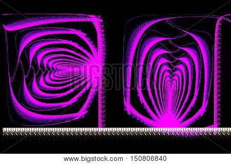 Abstract Square Bright Purple Fractal On Black