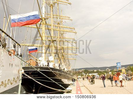 VARNA BULGARIA - OCTOBER 4 2016: Black Sea Tall Ships Regatta sailing ships from different countries on international regatta ship