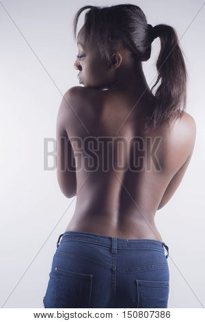 Sexy Black Woman From Back With Short Jeans