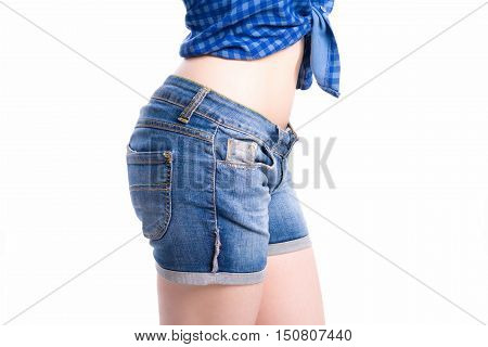 Jeans Shorts Closeup Side View