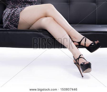 Elegant Woman Legs With Black Shoes