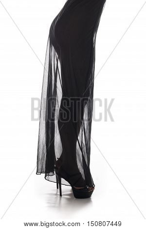 Woman legs with see trough black lingerie