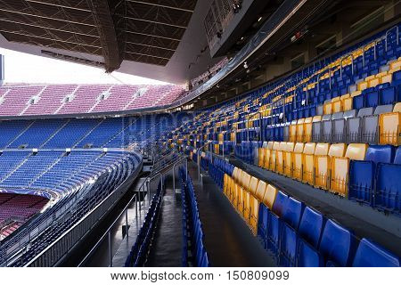 BARCELONA, SPAIN - SEP 13, 2016: Empty seats await the next game at the Nou Camp Stadium.