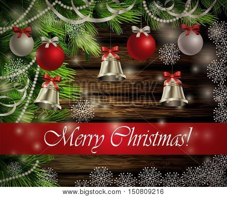 Christmas New Year design dark rustic wooden background with christmas tree silver bells decorations and red silver balls