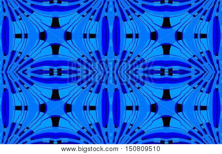 Abstract geometric seamless background. Regular ellipses ornaments in blue shades and outlines and with black elements.