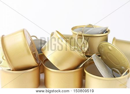 Aluminum Food Cans Empty on white background