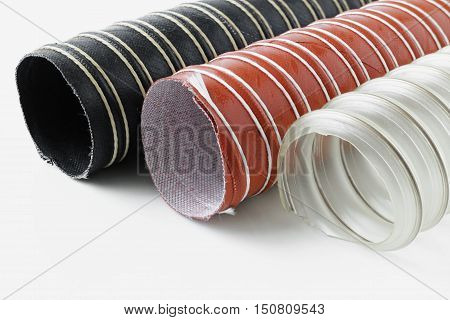 Suction Hoses several types on white background