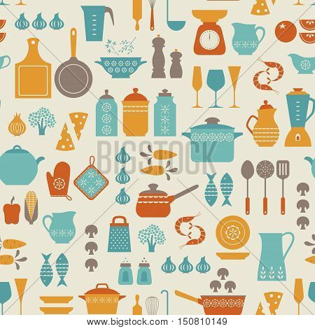 Seamless retro-style kitchen pattern with utensils and food.