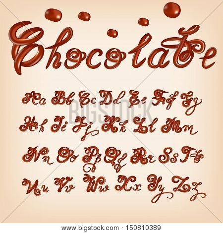 Vector milk Chocolate vector alphabet. Sweet ABC letters, hand-made font. Shiny, glazed letters set. Glossy typescript design.