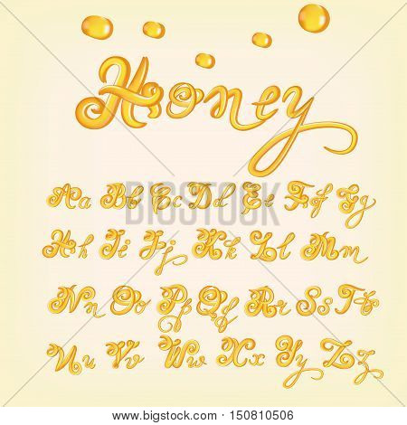 Latin alphabet made of honey. Liquid font style. Orange, yellow glossy alphabet with capital and small letters. Vector illustration.