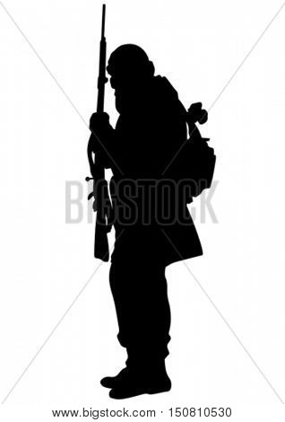 Arab soldiers with guns on a white background