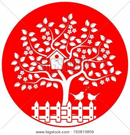 vector flowering tree with nesting bird box and picket fence with couple of birds isolated on red round