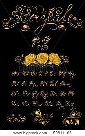 Gold Fairytale, Vector hand drawn calligraphic font. Handmade calligraphy tattoo alphabet. Quote text. ABC.English lettering lowercase, uppercase. Script, vintage handcrafted retro letters