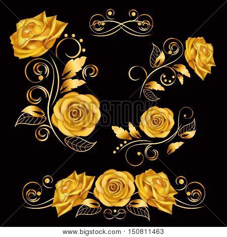 Flowers.Vector illustration with gold roses. Vintage decoration. Decorative, ornate, antique, luxury, floral elements on black background. Concept for invitation, banners gift cards congratulation