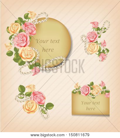 Vintage pink, yellow roses and Pearl Necklace. Flower invitation card, greeting card.  Decorative, ornate, antique, luxury, floral elements. Concept for banners gift cards congratulation