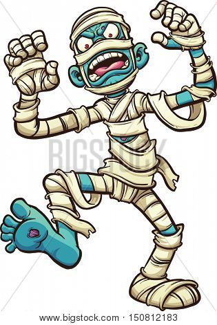 Scary cartoon mummy. Vector clip art illustration with simple gradients. All in a single layer.