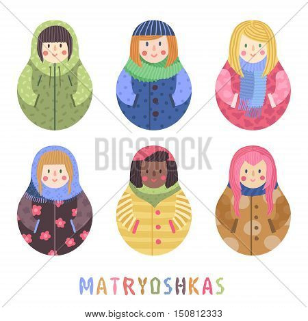 Modern cute and funny cartoon naive matrioshka set. Girls icons set.