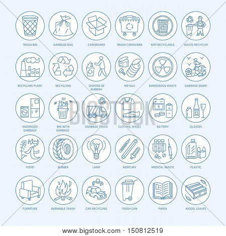 Modern vector line icon of waste sorting recycling. Garbage collection. Waste types - paper glass plastic metal. Linear pictogram with editable stroke for brochure of waste management