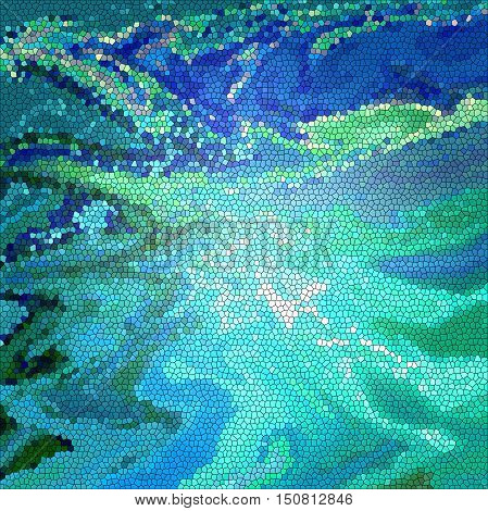 Abstract coloring background of the horizon gradient with visual lighting, wave, cubism, pinch, stained glass and twirl effects.