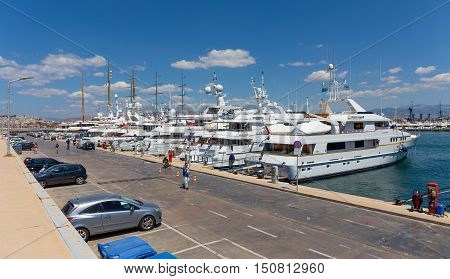 FALIRO, GREECE - MAY 26: Flisvos Marina on May 26, 2016 in Faliro, Greece. Flisvos Marina is a Mega Yacht marina and can accommodate more than 300 luxury yachts.