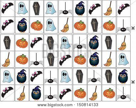 easy game for children: domino for halloween