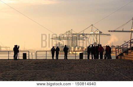 View of Hamburg Harbour at dawn, Germany.