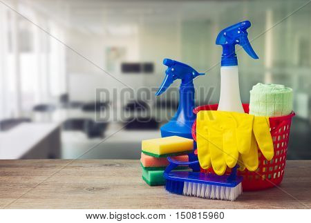 Office cleaning service concept with gloves and supplies