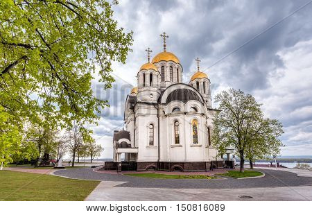 SAMARA RUSSIA - MAY 10 2015: Russian orthodox church. Temple of the Martyr St. George in Samara Russia