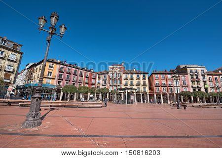 BURGOS SPAIN - SEPTEMBER4: Ancient main square on September 4 2016 in Burgos Castilla y Leon Spain.