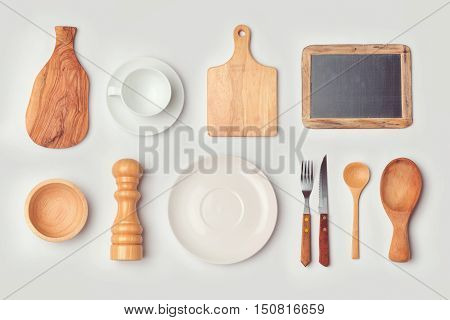 Kitchen mock up template with organized cooking objects. View from above