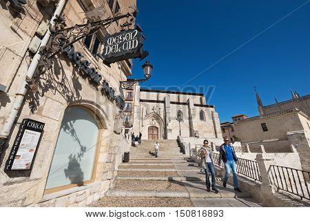 BURGOS SPAIN - SEPTEMBER 4: Tourist visiting Burgos medieval city on September 4 2016 in Burgos Castilla y Leon Spain.