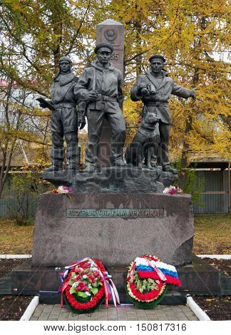 Murmansk, Russia - October 17, 2015: Monument to the border guards of the Arctic Murmansk