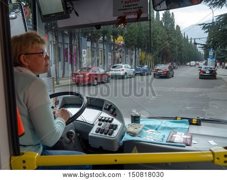 Yalta, Russia - November 08, 2015: The woman - the driver of a trolley bus route in the city of Yalta Crimea