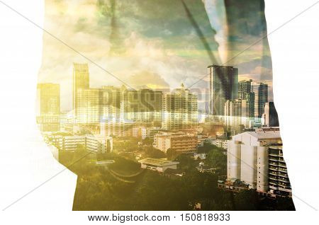 Businessman With Tablet And City Of Bangkok, Double Exposure As Real Estate Development Concept