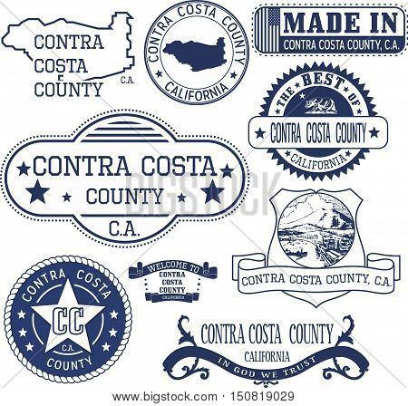 Contra Costa County, Ca. Set Of Stamps And Signs
