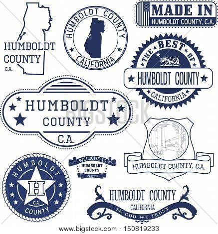 Humboldt County, Ca. Set Of Stamps And Signs