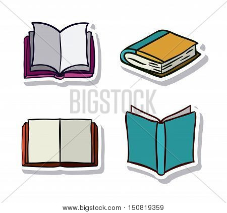 Open and close books icon. Education literature reading and library theme. Isolated design. Vector illustration