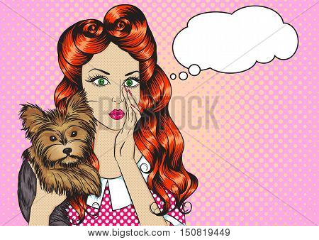 Portrait of sexy girl with little dog Yorkshire Terrier and the speech bubble in the pop art style. Vector illustration of retro girl in comics style. Vintage advertising poster
