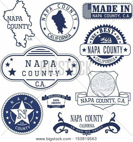 Napa County, Ca. Set Of Stamps And Signs
