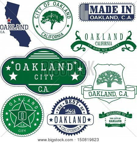 Generic Stamps And Signs Of Oakland City, Ca