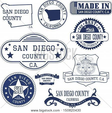 San Diego County, Ca. Set Of Stamps And Signs