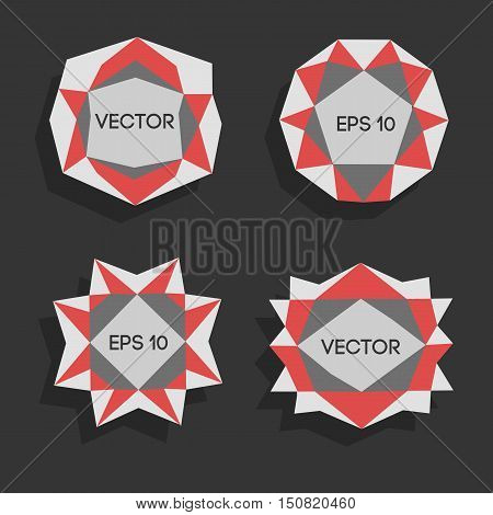 Abstract low poly modern labels. Vector low poly frame with space for text Template creative low poly element. Vector low poly illustration decorative low poly background.