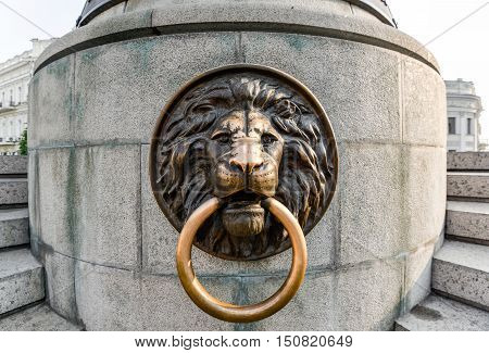 Odessa, Ukraine - July 25, 2016: Lion on the Famous Monument to City Founders, Odessa Ukraine. In 2007 was restored the lost monument to the city founders by the City Council.