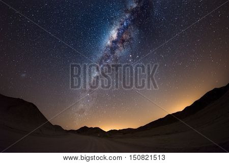 Starry Sky And Milky Way Arc, With Details Of Its Colorful Core, Outstandingly Bright, Captured From