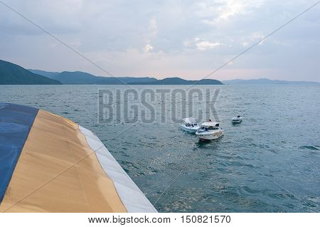 the boat is towed on a summer vacation on a tropical beach vacation