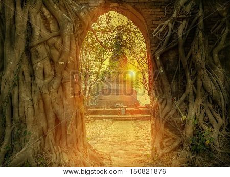 Unseen ThailandHistoric old city of Thailand Wat Phra Ngam AyutthayaThailand Flare light from the sun shines in the sunset