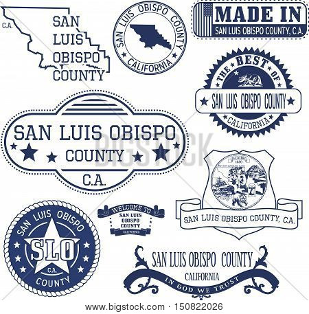 San Luis Obispo County, Ca. Set Of Stamps And Signs