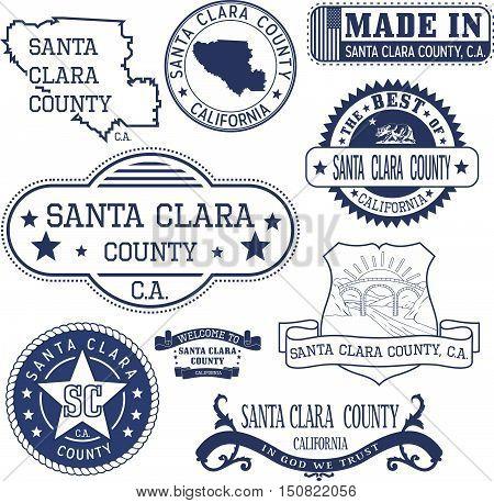 Santa Clara County, Ca. Set Of Stamps And Signs