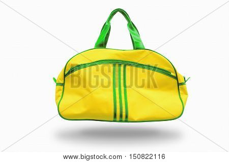 yellow sports bag on white background.For the sports equipment