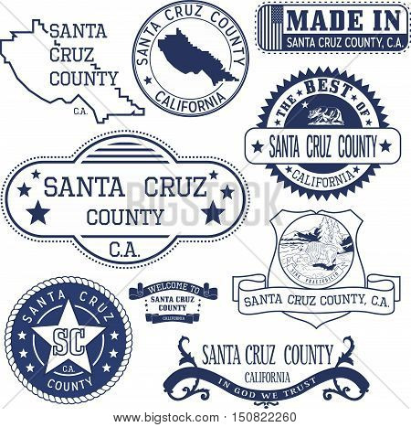 Santa Cruz County, Ca. Set Of Stamps And Signs